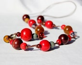Red, Dark Red, Mustard, Amber, Brown, Grey, Silver, Gold, Bead, Rope Necklace, Chunky