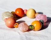 Chunky bracelet, beaded bracelet, nectarine, orange, pink, peach, pink, organic, stone age bracelet