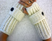 Snow white thick long ribbed with wrist strap crochet button arm warmers, fingerless gloves