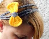 Three strand yellow and grey bow tie crochet headband