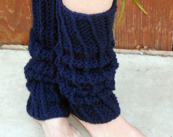 Crocheted ribbed dance trendy leg warmers in navy