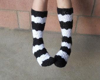 Black and white stripe crochet slipper socks.