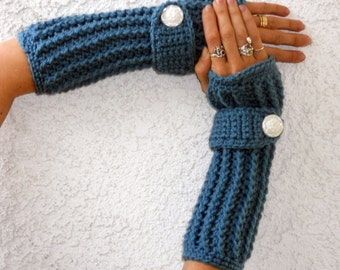 Dusty blue arm warmers, fingerless gloves, texting gloves, crochet gloves, boho gloves, hand warmers, mittens, boho fashion, button gloves