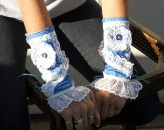 Victorian shabby chic arm warmers, wrist cuffs in country blue