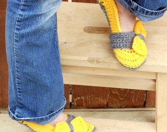 Thunderous sunshine yellow crochet slippers, womens slippers, big bow slippers, crochet socks, slippers, crochet shoes, crochet booties