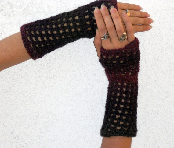Midnight glamour romantic Valentines Day crochet arm warmers, fingerless gloves, mittens, texting gloves, arm warmers, hand warmers