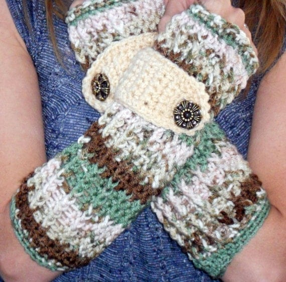 Spring flourish variegated long ribbed with wrist strap crochet button arm warmers, fingerless gloves for Easter.