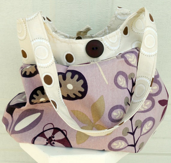 Pleated Shoulder Purse Tote Bag with a gorgeous purple retro style fabric