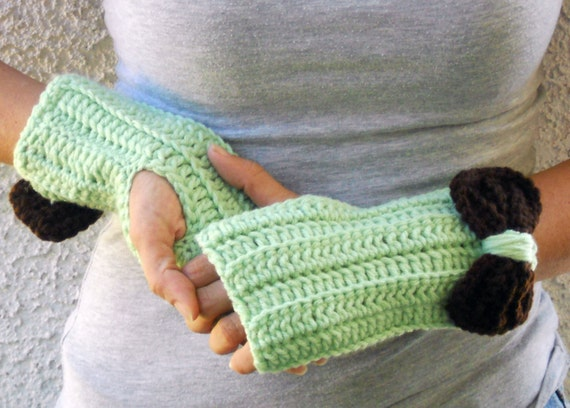 Mint chocolate fingerless gloves, arm warmers, texting gloves, crochet gloves, wrist warmers, hand warmers, mittens, warm gloves