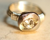 Silver and Rhinestone Button RIng with Silver Wire
