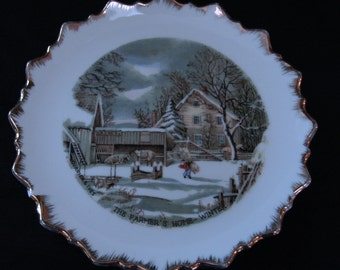 Vintage Currier & Ives Collector Plate - The Farmer's Home-Winter