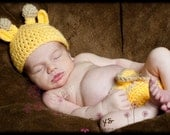 Crochet Baby Giraffe Hat and Diaper Cover Photography Prop Newborn or 0-3 M Size