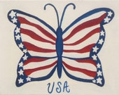 Butterfly oil painting, Fourth of July, patriotic decoration, red white and blue butterfly, original, varnished, 8x11, small painting