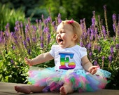 RAINBOW Initial shirt or onesie and tutu set