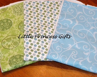 Set of 3 Blue and Green burp cloths