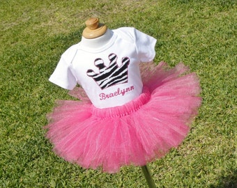 Princess Crown shirt or onesie with embroidered name and tutu set