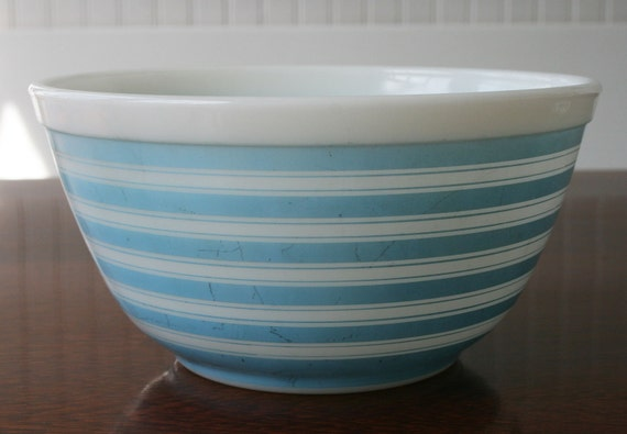 collectible blue and white striped Pyrex bowl
