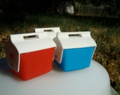 3 Miniature Playmate Coolers for dollhouse ice chest