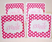 Smile handmade mini greeting cards Set of 4 mini cards in pink and white polka dots design Any occasion Just because mini cards
