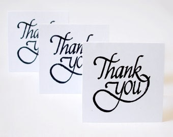 simple thank you mini note cards, blank thank you notes, 1 dozen handmade mini cards, hand-stamped note cards, customer thank you notes
