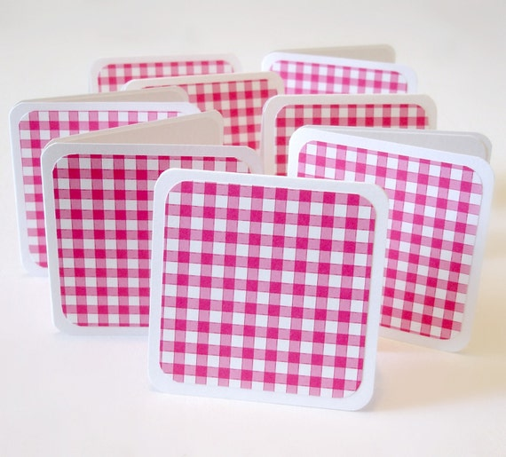 Handmade mini cards pink gingham pattern Set of 8 mini note cards Gift notes Pink and white