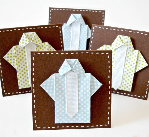 Origami mini shirt cards for fathers day Set of 4 mini greeting cards with envelopes