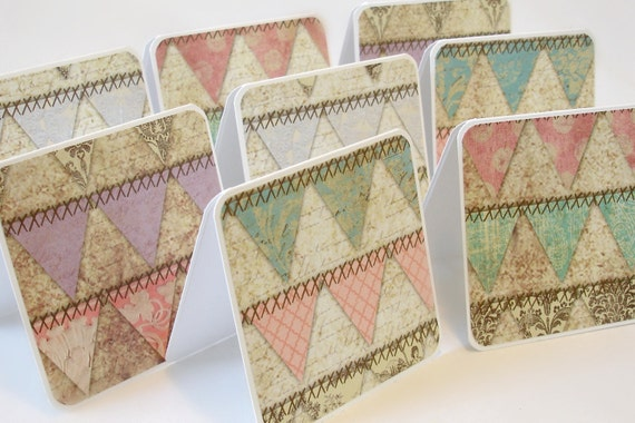 Mini note cards vintage banner design Set of 8 handmade mini cards gift cards for any occasion