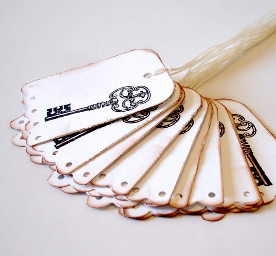 Skeleton key tags Vintage style gift tags Set of 12 embellishments, hang tags, party favors