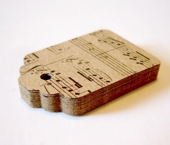 Music note gift tags 2 1/2 dozen merchandise tags decorative kraft favor tags