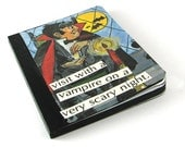 Small Embellished Halloween Notebook  with a Vintage Vampire Illustration on Cover