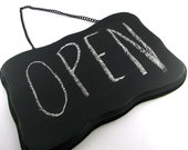 DIY Open Closed Sign - Hanging Black Chalkboard with Chain
