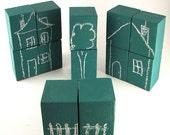 Green Chalkboard Blocks - Kids Toy - Set of 12 Building Blocks