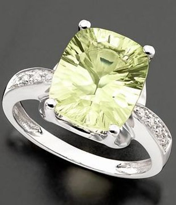 Gorgeous 4 3/8 ct. Green Amethyst Quartz Diamond 14k White Gold Ring-