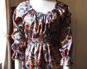 60s Inspired Colorful Tunic Top