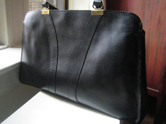80s Large Black Leather Satchel Handbag