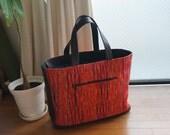 Red Kimono Sakiori & Brown Leather Large Tote