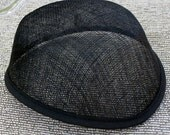 Black Sinamay Airhostess hat base for  fascinators, cocktail hats, church hats and perchers - DIY