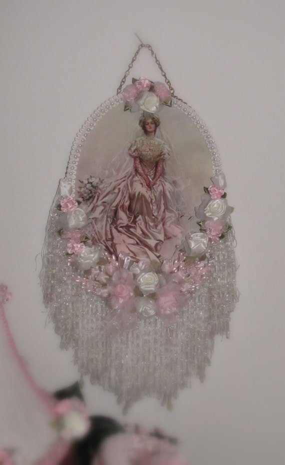 Pink Victorian Rose Wall Decor Flue Cover Lady Picture