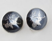 Niello Sterling Siam Vintage Screw Back Earrings