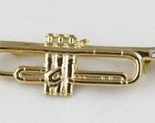 Music Lovers Sparkling Diamante Trumpet Brooch