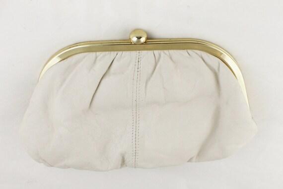 Cream Leather Vintage Salisburys Clutch Bag