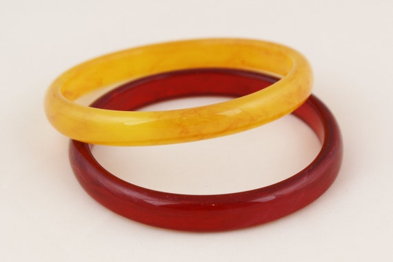 Butterscotch and cherry marbled pair of bangles