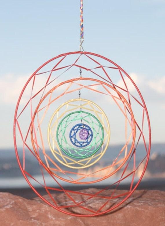 Large 6-Ringed Rotating Rainbow Dream Catcher