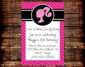Barbie Silhouette Invitation 5x7 with Envelopes