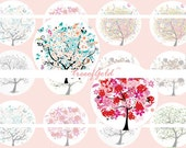 1 Inch Circle Graphics Digital Bottle cap Digital Art Cameo Print Collage Work - Flower Tree Graphics Set C