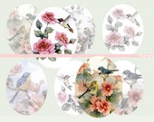 30mm x 40mm Digital Art Collage Work Vintage Birds for Jewelry Making and Craft Making