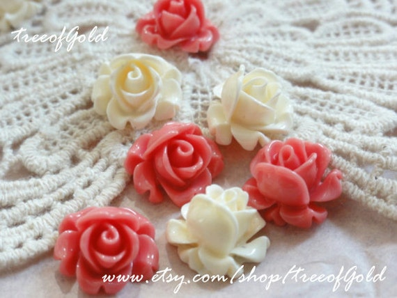 Acrylic Lucite Resin Rose Flower Cabochons, White and Coral Pink for Jewelry and Craft Supplies, 12 pcs of 12mm