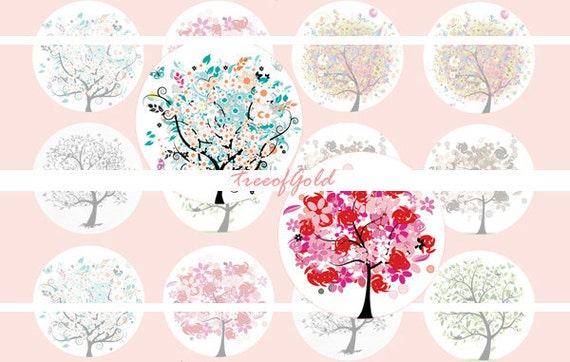 1 Inch Circle Graphics Digital Bottle cap Digital Art Cameo Print Collage Work - Flower Tree Graphics Set C