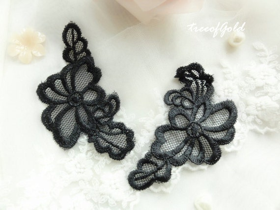 Black Lace Appliques, See through Lace Flower Appliques for Bridal Supplies and Craft Making, 1 pair of  3.3 inch x 1.8 inch (ULA1041)