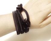 Military Zipper bracelet, handmade  zipper jewelry, black, big size plastic zipper teeth, metal zipper slider.